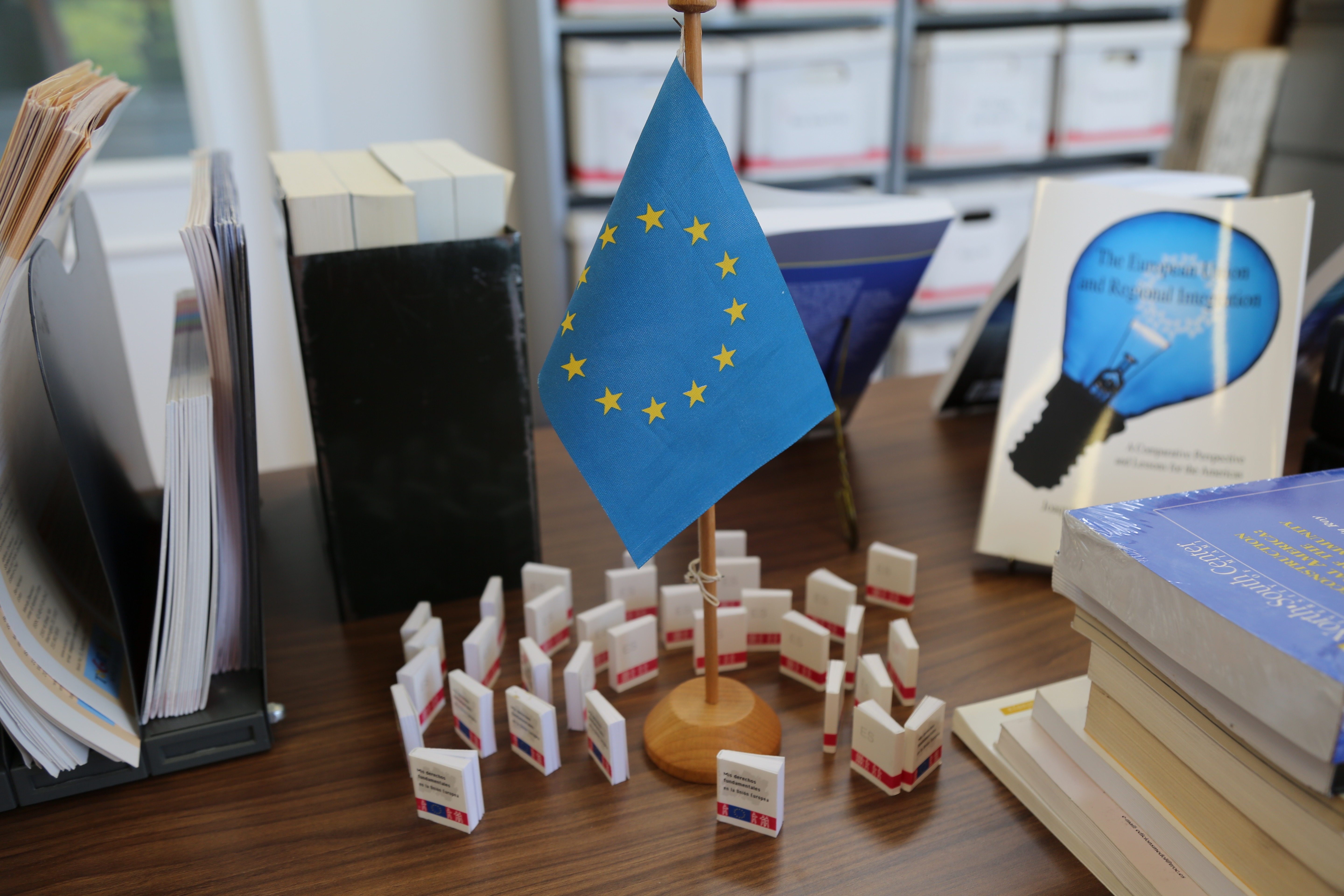 Photo of EU flags on a table